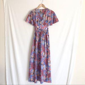 Vintage 1970's Flutter Sleeve Maxi Dress Sz S/M